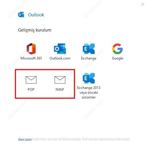 POP-IMAP Seçim Ekranı