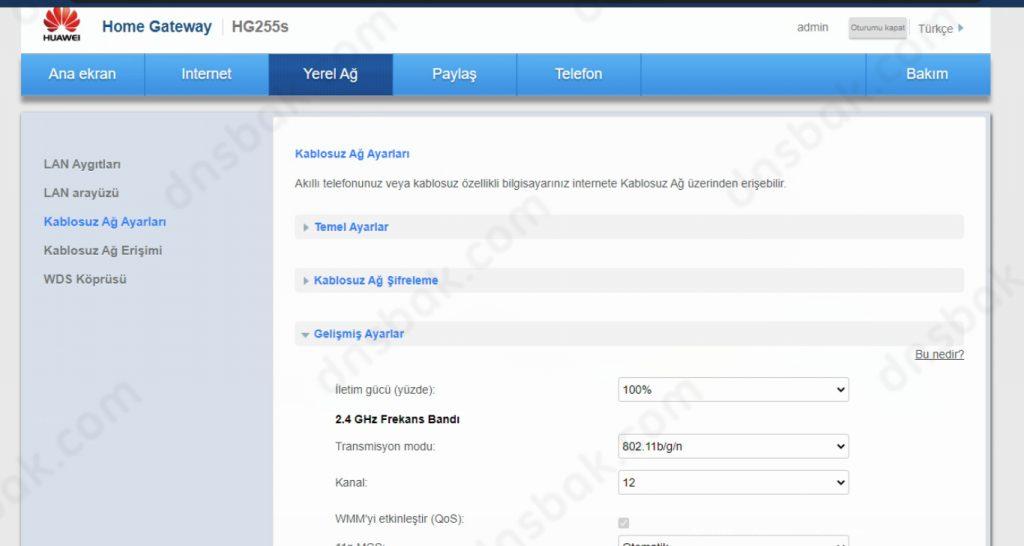 HG255S Modem Kanal Değiştirme