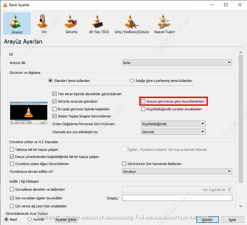 VLC Player Ayarlar Ekranı